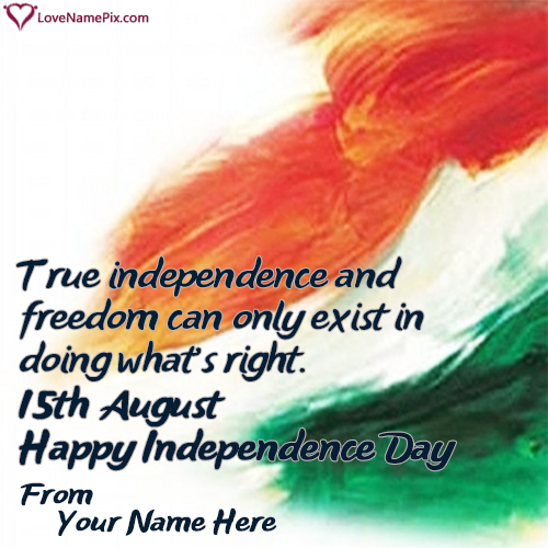 Write Name on 15th August Independence Day Speech Picture