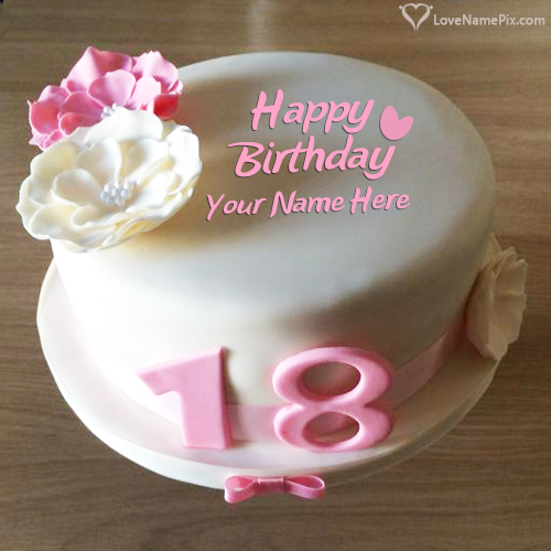 Awe Inspiring 18Th Birthday Cake Photo Generator With Name Personalised Birthday Cards Rectzonderlifede