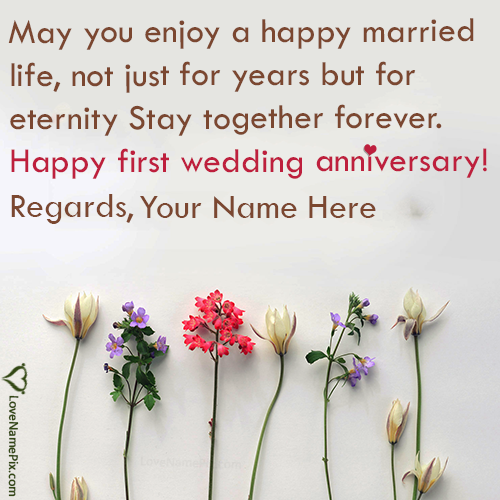 Write Name on 1st Marriage Anniversary Wishes Cards Picture