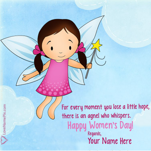 Write Name on Angel Womens Day Messages Picture