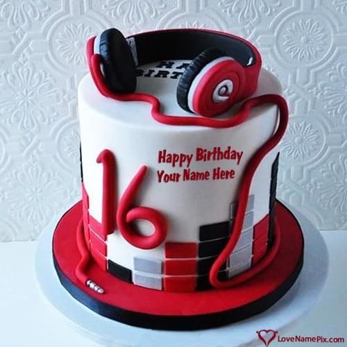 Beats Headphones Birthday Cake With Name