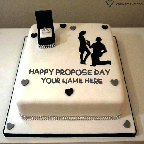 Write Name on Beautiful Design Love Proposal Cake Picture