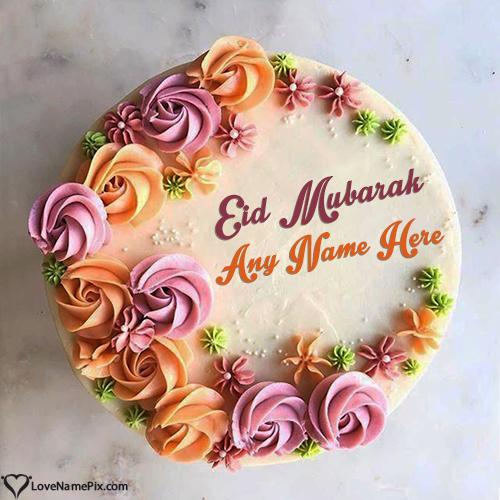 Write Name on Beautiful Eid Mubarak Cake Images Picture