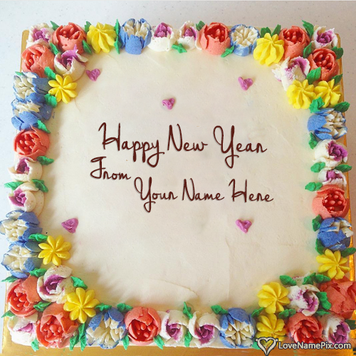 Beautiful Happy New Year Wish Cakes With Name