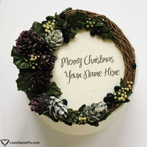 Write Name on Beautiful Merry Christmas Cake Edit Picture