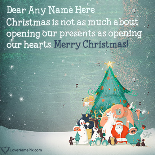 Write Name on Beautiful Short Christmas Message Picture