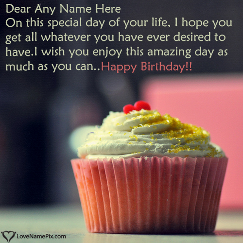 Write Name on Best Happy Birthday Cupcake Message Picture