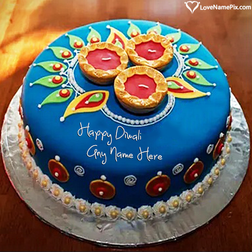 Write Name on Best Happy Diwali Cake Photo Picture