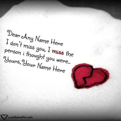 Write Name on Best I Miss U Messages For Husband Picture