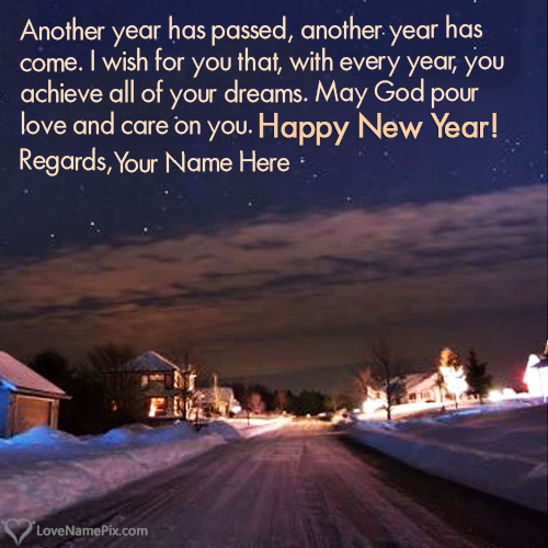Write Name on Best New Year Eve Wishes Messages Picture