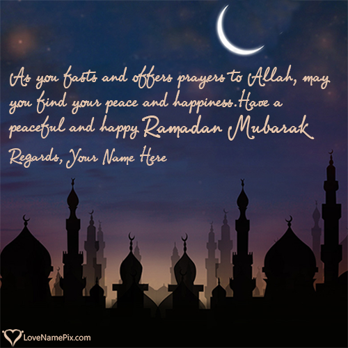 Write Name on Best Ramadan Kareem Wishes Picture