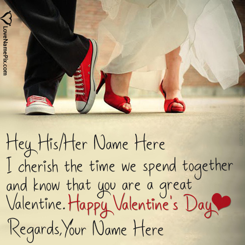 Write Name on Best Valentine Greetings Cards For Couple Picture