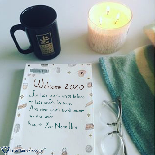 Write Name on Best Welcome New Year 2020 Wishes Picture
