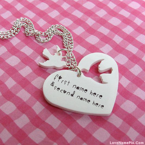 Write Name on Bird And Heart Necklace Picture