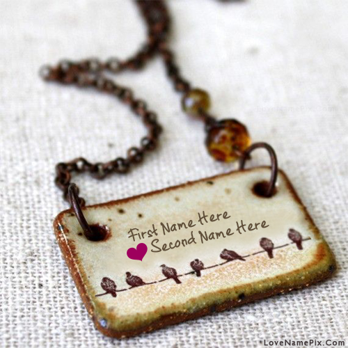 Birds Couple Love Pendant With Name