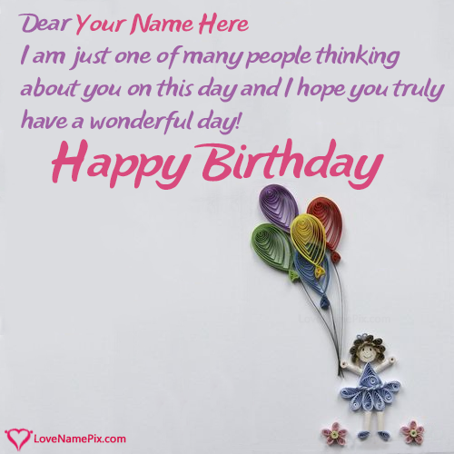 Write Name on Birthday Card Messages For Girl Picture