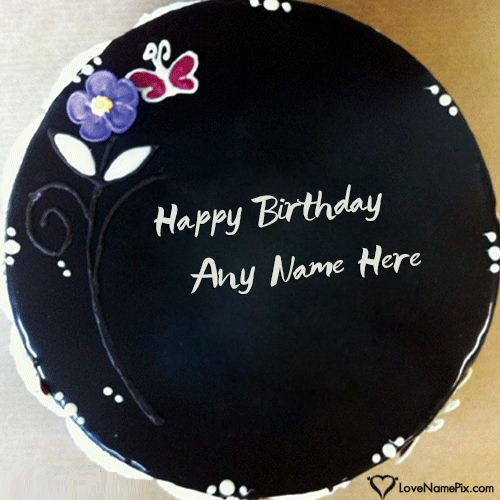 Write Name on Black Chocolate Birthday Cake Generator Picture