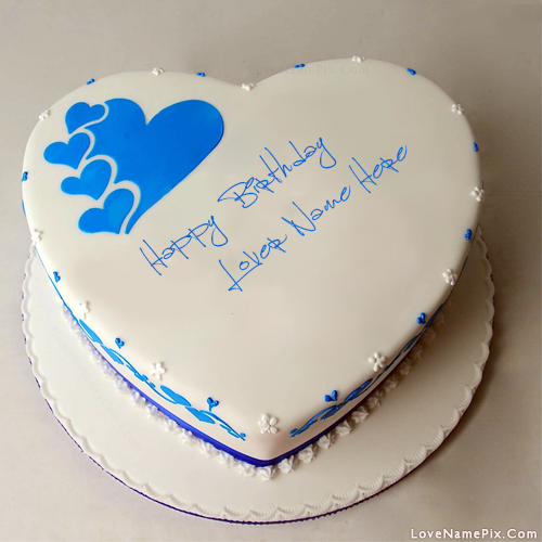 Magnificent Blue Hearts Birthday Cake For Lovers With Name Personalised Birthday Cards Veneteletsinfo