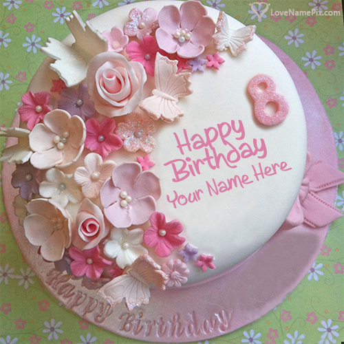 Excellent Butterfly Roses Decorated 8Th Birthday Cake With Name Personalised Birthday Cards Akebfashionlily Jamesorg