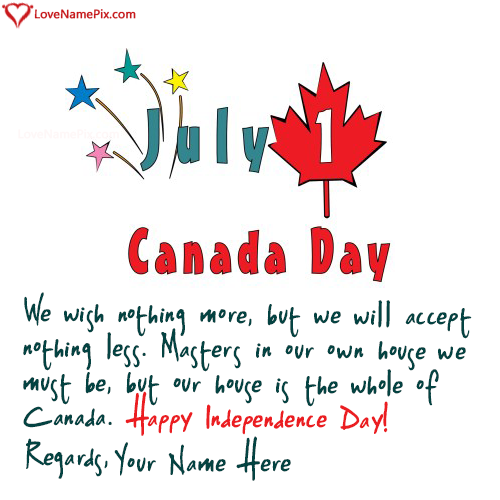 Write Name on Canada Independence Day Celebration Picture