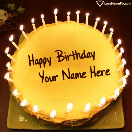 Write Name on Candles Birthday Cake Generator For Boys Picture