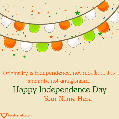 Write Name on Celebration Images For Indian Independence Picture