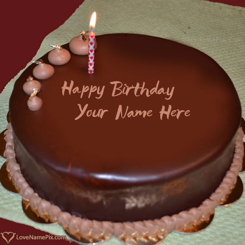 Chocolate Birthday Cake With Candle With Name