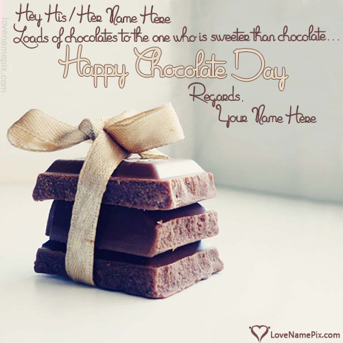 Write Name on Chocolate Day Wishes Quotes Picture