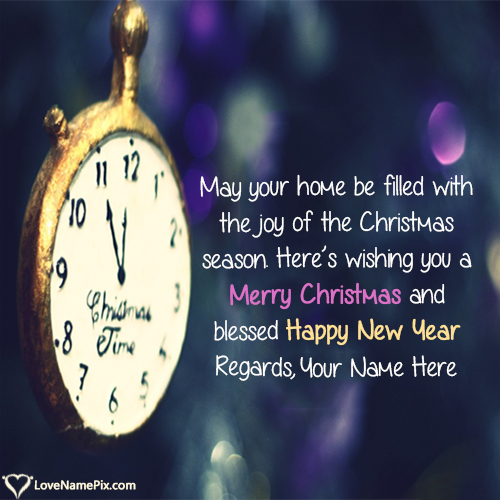 Write Name on Christmas And New Year Greetings Picture