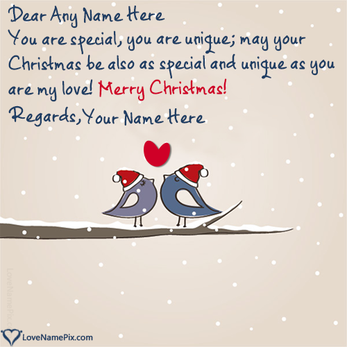 Write Name on Christmas Greeting Messages For Lover Picture