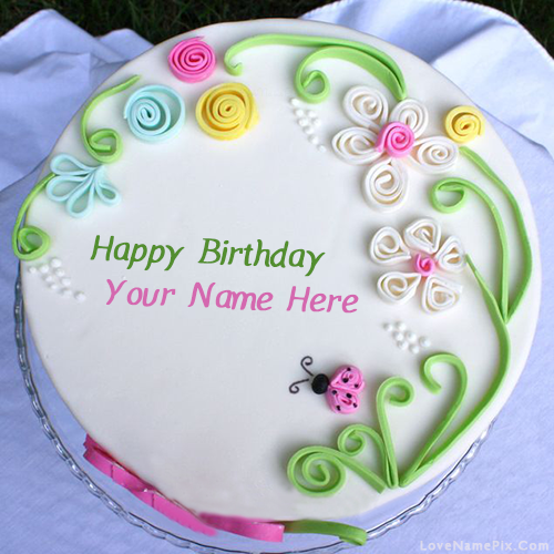 Magnificent Colorful Birthday Cake With Name Personalised Birthday Cards Akebfashionlily Jamesorg