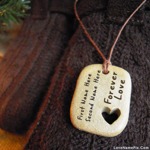 Write Name on Couple Forever love Pendant Picture