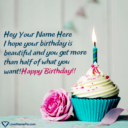 Write Name on Creative Happy Birthday Cupcake With Rose Picture