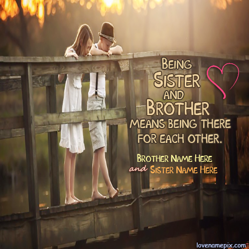 Write Name on Cute Brother Sister Picture