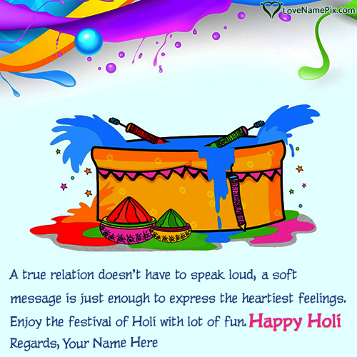 Write Name on Cute Colors Happy Holi Greetings Picture