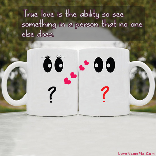 Cute Couple Alphabets cups With Name