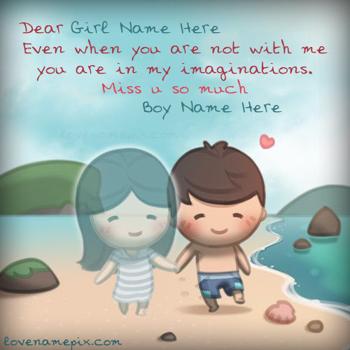 Write Name on Cute Couple Boy Miss U Picture