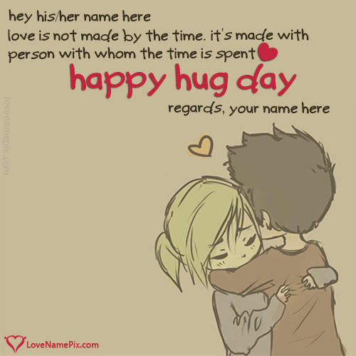 Write Name on Cute Couple Hug Day Quotes Picture