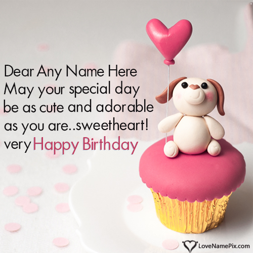 Write Name on Cute Cupcake Birthday Wishes For Lover Picture