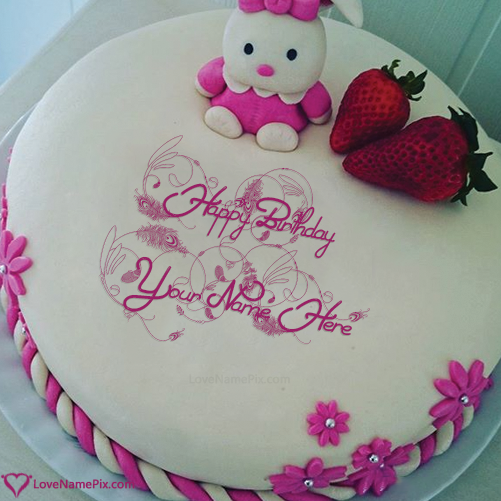 Write Name on Cute Doll Happy Birthday Cakes For Daughter Picture
