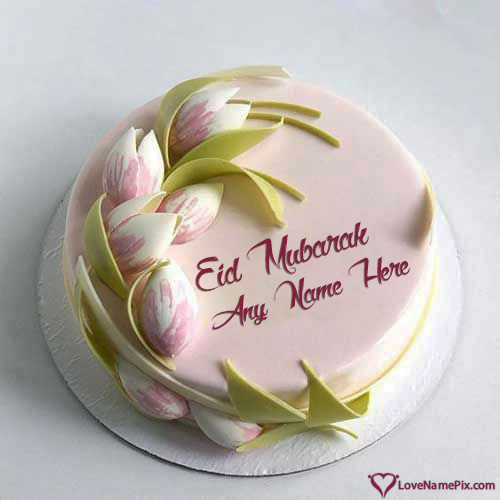 Write Name on Cute Eid Mubarak Cake Wishes Picture