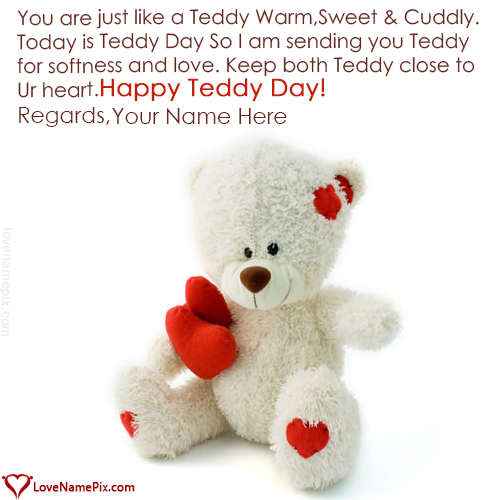 Write Name on Cute Happy Teddy Day Images Picture