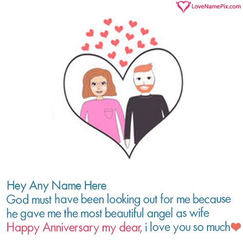 Cute Heart Happy Anniversary Card For Wife With Name
