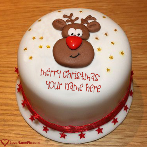 Write Name on Cute Merry Christmas Wishes Cake Picture
