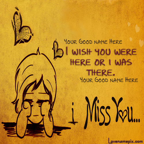 Write Name on Cute Miss U Picture