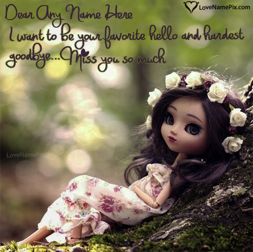 Write Name on Cute Miss You Images For Boyfriend Picture