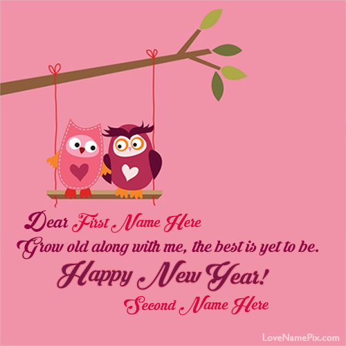 Write Name on Cute New Year Love Greetings Picture