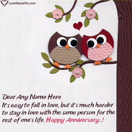 Write Name on Cute Owl Couple Anniversary Card For Husband Picture