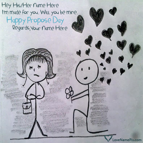 Cute Propose Day Wishes Sketch With Name
