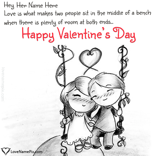 Write Name on Cute Valentines Messages For Her Picture